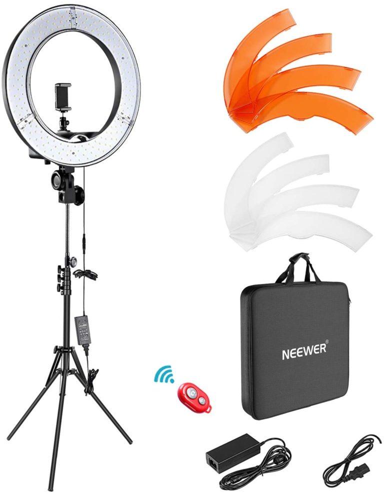 Neewer Ringleuchte Licht Set: 18 Zoll / 48 Zentimeter Außen 55W 5500K dimmbare LED-Ringlicht Lampenstativ Bluetooth-Empfänger