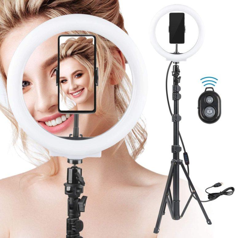 Rhodesy LED Ringlicht mit Stativ und Handyhalterung, 10 Zoll / 25.4 cm Selfie Ringleuchte mit 3 Lichtmodi & 10 Helligkeitsstufen für Live-Streaming/TikTok/Makeup/Fotografie/YouTube Video