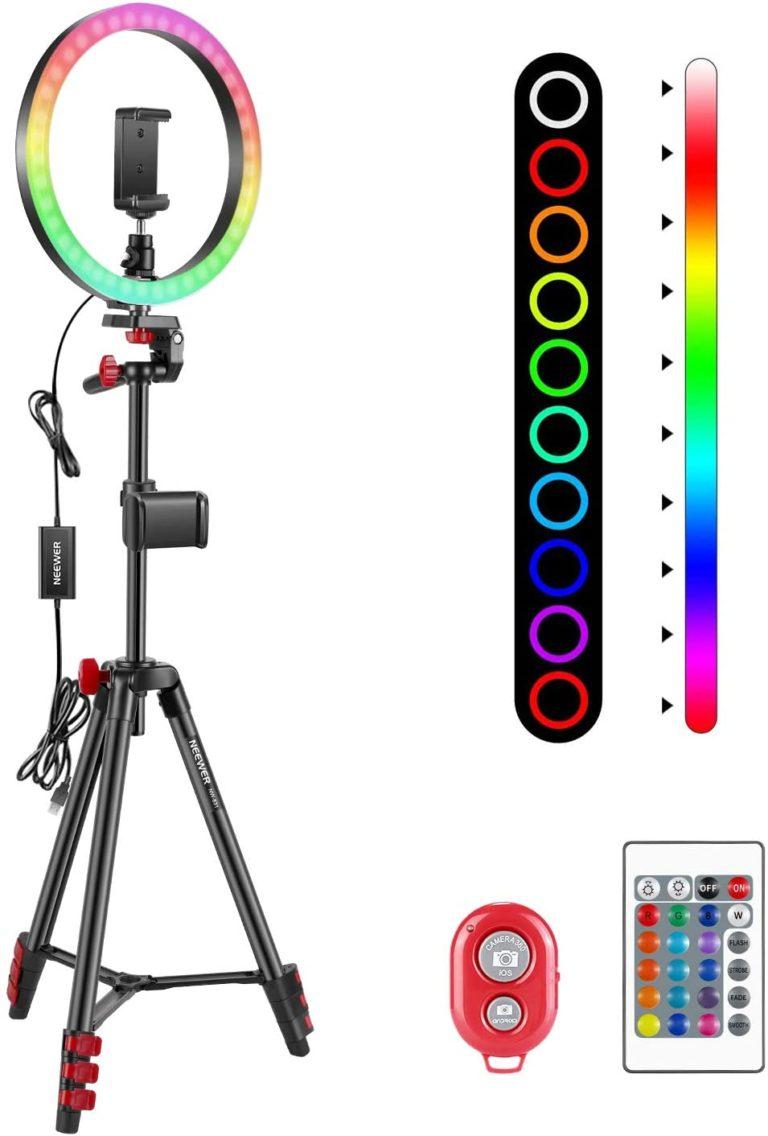 Neewer 10 Zoll RGB Selfie Ringlicht mit Stativständer und Telefonhalter Infrarot-Fernbedienung dimmbaren 16 Farben und 4 Blitzmodi