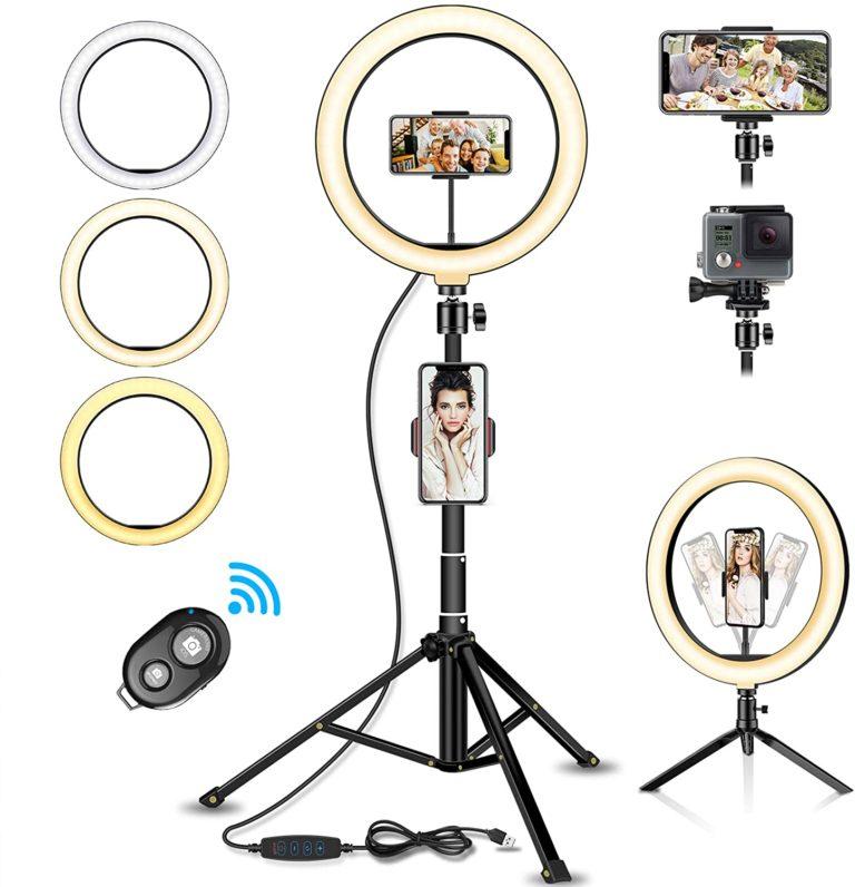 """SYOSIN LED Ringlicht Stativ mit Fernbedienung, 10.2"""" Selfie Ringleuchte Doppel-Handyhalter mit 3 Farbe und 11 Helligkeitsstufen für YouTube TikTok Self-Porträt"""